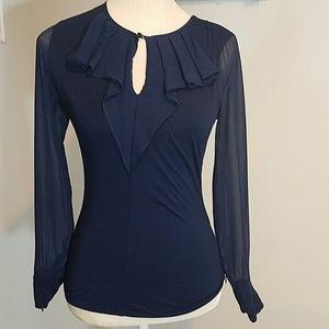 Karen Millen  Sheer Sleeve Fitted Top